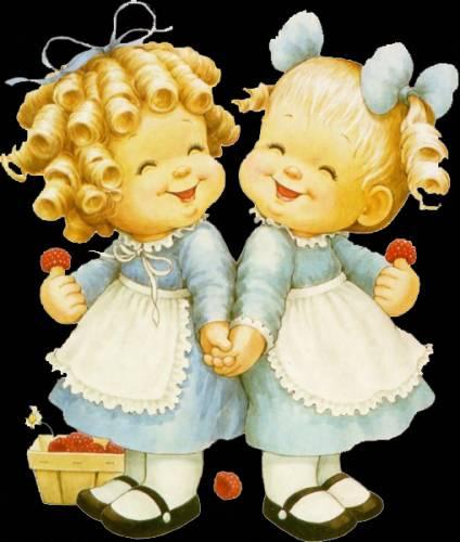Картинки с детьми: Две девочки и малина