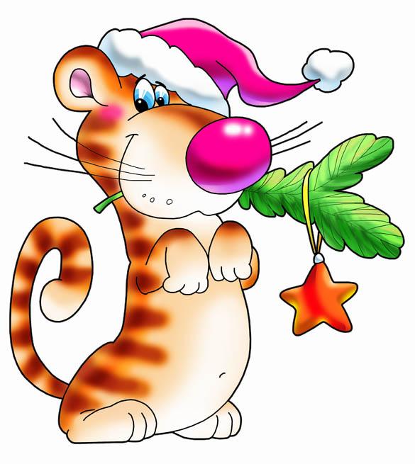 Новый год тигр еловая ветка звезда